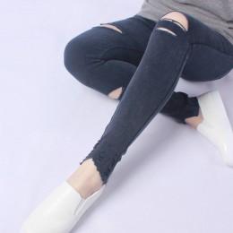 Yesello Plus rozmiar M-5XL lato Hole zgrywanie dżinsy damskie Jeggings fajne Denim wysokiej talii Skinny Jeans spodnie spodnie d