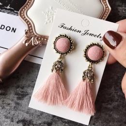 Tiny Tassel Kolczyki dla Kobiet Moda Biżuteria Vintage, Aksamit Piłka Komunikat Fringed Kropla Kolczyk Kobiet Biżuteria 2018 Now