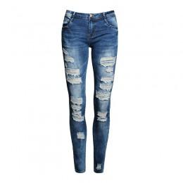 Nowe niebieskie dżinsy Pancil spodnie damskie wysokiej talii szczupłe z dziurami dżinsy dorywczo spodnie ze stretchem spodnie je