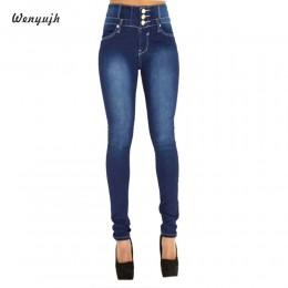 WENYUJH nowa jesień zima damskie dżinsy rurki Denim ołówek spodnie Top marka Jeansy ze streczem wysokiej talii spodnie damskie w