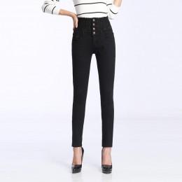 Damskie zimowe Jeans wysokiej talii spodnie obcisłe podszyty polarem elastyczna talia Jeggings na co dzień Plus rozmiar dżinsy d