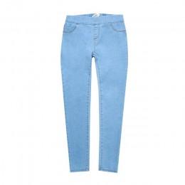 Jesień zima minimalistyczny kobiety Denim Skinny Stretch fałszywe przednia kieszeń średniej talii myte niebieski Slim elastyczne