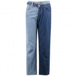 [EAM] nowa wiosna 2019 mody wysokiej talii Patchwork Hit kolor odpinany niebieskie dżinsy proste spodnie jeansowe damskie SC08