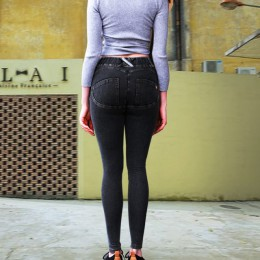 Modne elastyczne legginsy damskie wygodne optycznie wydłużają nogi podnoszą pośladki długie guma w pasie imitacja dżinsu