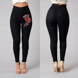 2018 ITFABS mody kobiet wysokiej talii haftowane Skinny Stretch ołówek długi Slim Casual legginsy Jeans