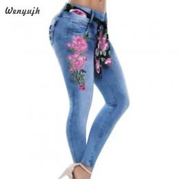 WENYUJH 5XL 2019 kobiety Stretch wysokiej talii Skinny hafty dżinsy kwiatowy Print spodnie jeansowe spodnie kobiety ołówek spodn
