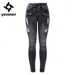 2168 Youaxon nowy czarny motocykl Biker Zip Jeans damskie średnio wysokie talii Stretch Denim spodnie obcisłe dżinsy silnika dla