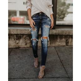 2019 wiosna moda bielone porwane jeansy damskie bawełniane Denim Slim elastyczność spodnie obcisłe wąsy efekt dżinsy vintage Fem