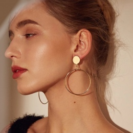 MESTILO Proste Trendy Złoty Sliver Kolor Geometria Duże Okrągłe Koło Kolczyki Dla Kobiet Mody Duży Hollow Upuść Kolczyki Biżuter