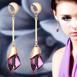 Klasyczne Eleganckie Długie Kolczyki Dla Kobiet Mody Geometria Kryształ Złoty Kolor Kropla Wody Kolczyk Brincos Bijoux Biżuteria