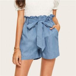 SHEIN na co dzień niebieski papierowe talii Twin kieszeni połatany z paskiem spodenki jeansowe damskie lato 2019 wysokiej talii