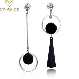 XIYANIKE Koreański Mody Geometria Długim Asymetria Kolczyk Koło Rhinestone Ear Stud Nowy Akrylowa Big Kolczyki Bijoux Brincos E2