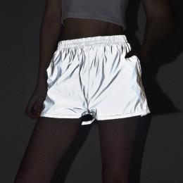 Modne krótkie luźne szorty damskie odblaskowe sportowe spodenki z kieszeniami i wysokim stanem jasnoszare na siłownię imprezę
