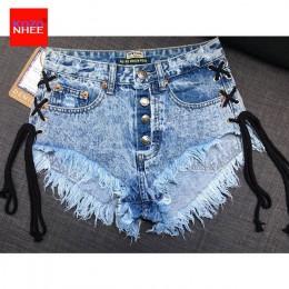W stylu Vintage płatek śniegu nieelastyczny kobiety szorty jeansowe spodenki z wysokiej talii pasy Tassel damskie letnie spodenk