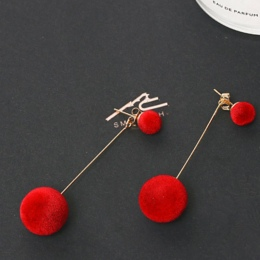 Czerwony Czarny Mody Pluszowa Piłka Spadek Kolczyki Dla Kobiet Koreański Aksamitna Okrągłe Kitki Długie Kolczyki Zwisają Prezent