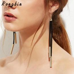 Trendy Projektant Black white brown Suede Leather Złoto Srebro Miedź Rury Długi Kutas Spadek Dynda Kolczyki Dla Kobiet Biżuteria