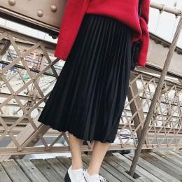 Wiosna 2019 kobiety długi metaliczny srebrny długa plisowana spódnica spódnica trzy czwarte wysokiej talii Elascity spódnica Cas