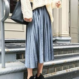 Danjeaner wiosna 2019 kobiety długi metaliczny srebrny długa plisowana spódnica spódnica trzy czwarte wysokiej talii Elascity Ca
