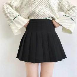 XS-3XL kobiety spódnica Preppy styl wysokiej talii elegancki szwy spódnice lato uczeń plisowana spódnica kobiety słodkie słodkie