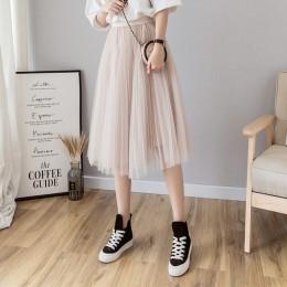 Tulle spódnice kobiet Midi plisowana spódnica czarny różowy tiul spódnica kobiet 2019 wiosna lato koreański elastyczna wysoka ta