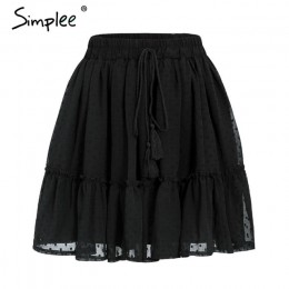 Simplee dorywczo polka dot mini kobiety spódnica wysoka talia linia koreański tassel różowy lato spódnica Sexy wzburzyć plaża ko