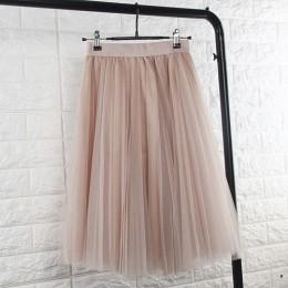 Spódnica dla kobiet damska tiulowa elastyczna wysoka talia plisowana długa modna