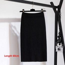 GIGOGOU 60-80CM elastyczna opaska kobiety spódnice jesień zima ciepłe dzianiny prosta spódnica prążkowane prążkowany w połowie d