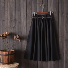Surmiitro Midi długość kolana lato spódnica kobiety z paskiem 2019 moda koreański panie wysokiej talii plisowana spódnica szkoła