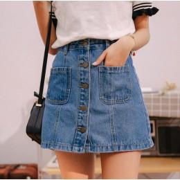 Denim spódnica wysokiej talii linii Mini spódnice kobiety 2019 letnie nowe produkty jeden przycisk kieszenie niebieski Jean spód