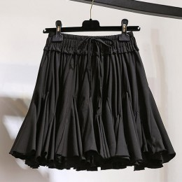 Surmiitro biały czarny szyfonowa lato spodenki spódnica kobiet 2019 moda koreański wysoka talia Tutu plisowane Mini Sun szkoła s