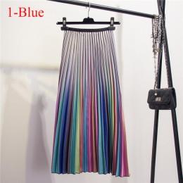 Modna elegancka spódnica damska midi plisowana na gumce w pasie do kostek oryginalny wzór kolorowa wysoki stan z podszewką