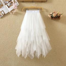 Kobiety nieregularne Tulle spódnice moda elastyczna wysoka talia spódniczka baletowa plisowane długie spódnice spódnica trzy czw