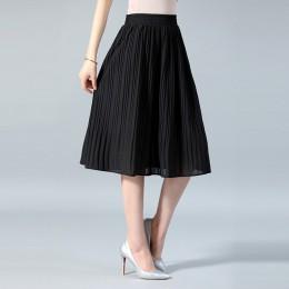 Wiosna 2019 długie plisowane spódnice kobiet lato na co dzień kobiety spódnica wysokiej talii Elascity faldas Party spódnica str