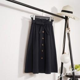 CRRIFLZ lato jesień spódnice damskie 2019 Midi do kolan koreański elegancki guzik wysokiej spódniczka z wysokim stanem kobiet pl