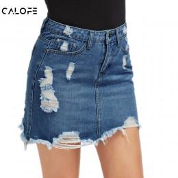 CALOFE kobiety niebieski zgrywanie dorywczo Mini Denim spódnica 2019 lato nowy Bodycon kobiety spódnica podstawowe kieszeń dżins