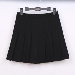 2018 nowa wiosna wysokiej talii piłka plisowana spódnica Harajuku spódniczki dżinsowe solidna linia sailor spódnica Plus rozmiar