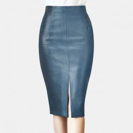 Colorfaith 2019 kobiety PU skórzane spódnica trzy czwarte jesień zima panie pakiet Hip z przodu lub z tyłu szczelina spódnica oł