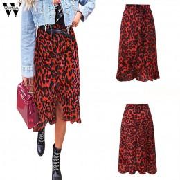Womail sp&oacutednica kobiety lato Leopard Print w stylu Vintage długie damskie na co dzień wysokiej talii plisowana sp&oacute