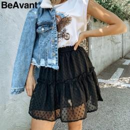 BeAvant Boho lato plisowana mini spódnice kobiet wysoka talia polka dot krótka spódnica różowy linii floral wydrukowano wzburzyć