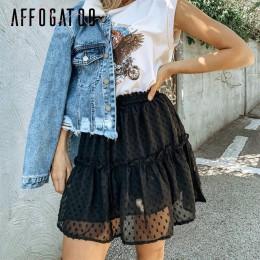 Affogatoo casualowa polka dot wzburzyć letnia różowa spódnica kobiety linia wysokiej talii plisowana, krótka spódnica kwiatowy p