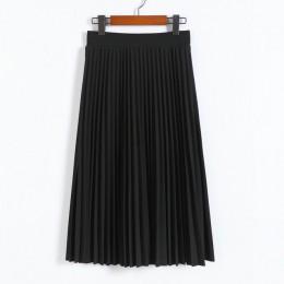 CRRIFLZ 2019 wiosna jesień moda damska wysoka talia plisowana jednolity kolor pół długość elastyczna spódnica promocje Lady czar