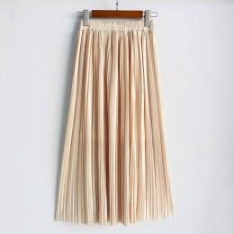 Hermicci 2018 lato plisowana kostek Maxi spódnica długa w stylu Vintage kobiety spódnica metalowa