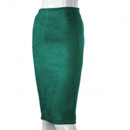 Aonibeier kobiet zamszowe jednolity kolorowy ołówek spódnica kobieta jesień zima wysoka talia Bodycon w stylu Vintage podział gr