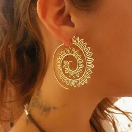 E0447 Biżuteria Etniczna Swirl Hoop Kolczyki Dla Kobiet Brincos Złoty Kolor Geometryczne Kolczyki Steampunk Styl Oświadczenie Pa