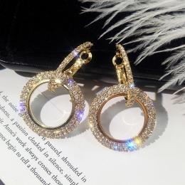 FYUAN Moda Koreański Styl Big Okrągły Hoop Kolczyki Luksusowe Złoty Srebrny Kolor Rhinestone Kolczyk Kobiet Biżuteria Party Prez