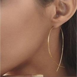 E019 Jedna Para Nowy Mody Złota-Big Hoop Kolczyk Rocznika Punk Krzyż Długi Hoop Kolczyk dla Kobiet Hot Sprzedaż biżuteria Hurtow
