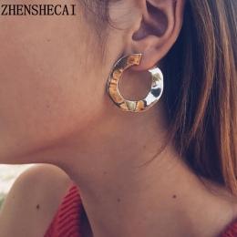 Nowa moda biżuteria hoop kolczyk sliver złoty kolor Nieregularne geometryczne koła kolczyk dla kobiet dziewczyna urodzinowe prez