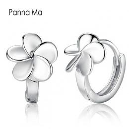Panna Ma Alergii Darmo Smooth Srebrny Kwiat Mały Hoop Kolczyki Dla Dziewczyn Kobiet Śliczne Pętli Huggie Kolczyki Biżuteria Akce