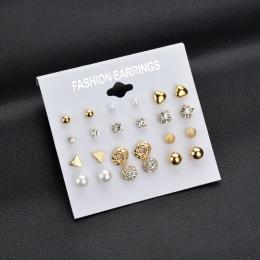 Moda 12 para/zestaw MissCyCy Kobiety Plac Kryształowe Serce Stadniny Kolczyki dla Kobiety Symulowane Pearl Kwiat Kolczyki Pierci