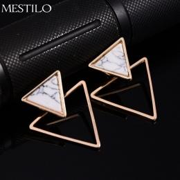 MESTILO Punk Marki Projektowanie Mody Plac Trójkąt Okrągły Geometryczna Faux Kamień Stadnina Kolczyk Kobiety Party Biżuteria pen